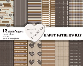 Happy Father's Day Digital Paper, Dad PaperPack, commercial use, brown beige, digital paper for man, scrapbook backgrounds, instant download