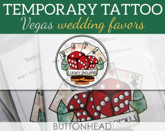 Las Vegas Wedding Favors - Temporary Tattoos - Set of 12