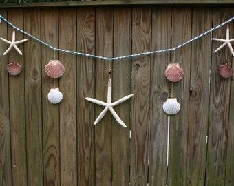 Seashell Starfish Teal Garland