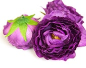OVERSTOCK SALE: 3 Ruffled Ranunculus in Dark Purple - 3 inch size - Soft Silk Artificial Flowers. was 7.25