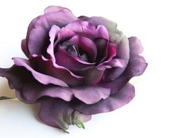 Large Blooming Georgia Rose in Deep Purple - Artificial Flower, Silk Flower Heads - ITEM 0541