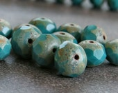 Dark Turquoise Picasso Czech Glass Bead Faceted 8x6mm Rondelle : 12 pc Green Picasso Rondelle