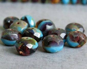 French Blue n Amber 8x6mm Picasso Czech Glass Bead Faceted Rondelle : 12 pc 6x8mm Blue Amber Donut