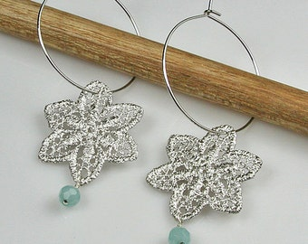 Silver Lace Hoop Earrings with Light Blue Amazonite