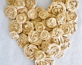 Fabric Flowers, Rolled Roses, Fabric Roses, Wedding Flowers, Burlap, Heart,, Natural, Mixed Sizes 20