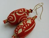 Reserved for Leigh - Red African Print Fabric Earrings - Awia