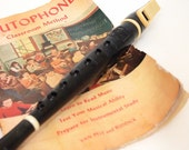 Vintage Toy Flute for learning instrument music school flutophone with booklet instructions Trophy classroom method