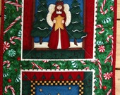 Angel Christmas Table Runner, House Cabin, Candy Canes, Wall Hanging, Quiltsy Handmade
