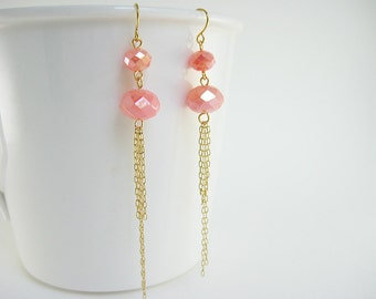 Long Tassel Earrings - statement earrings with gold or silver chain, lightweight boho coral pink bead jewelry