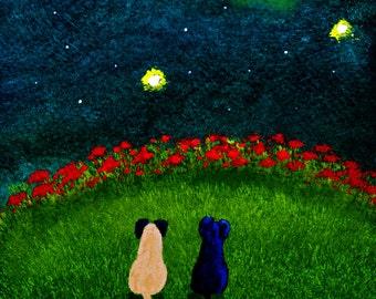Black Fawn PUG Dog outsider folk art print by Todd Young MOON GAZERS