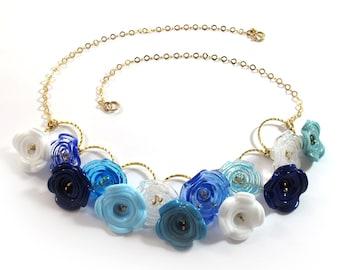 SariGlassman - Lampwork necklace - Handmade Glass necklace - Israeli fairy flower bells necklace - OOAK - 14k Gold-Filled SRA