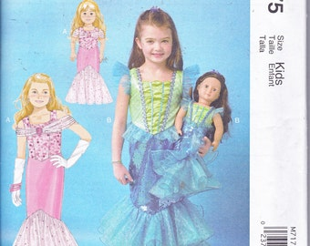 "McCalls 7175 Girls Costume Ariel Mermaid Dress AND Matching 18"" Doll Clothes Sewing Pattern Girls Sizes 3-8 New UNCUT"