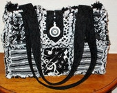 MUSIC themed Rag Quilted Handbag or Shoulder Bag with 8 Pockets and Zipper Closure