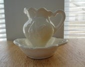 Vintage miniature Cream Bowl and Pitcher with raised Pears and Leaves on both sides. - Shabby Chic - 1960's - Ready to Ship