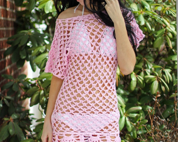 Crochet dress, crochet beach cover up, Crochet cover up,  mini, tunic, Short sleeves, beach cover up, festival, gypsy, boho, hippie