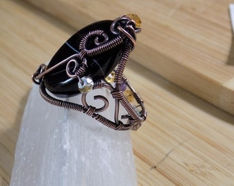 Oxidized Copper Black Agate Mixed Gemstone Ring Wire Wrapped Jewelry Handmade Sz 8 1/2 Citrine Amethyst Garnet Aquamarine Ring USA Free Ship