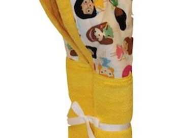 Personalized Girlfriends on a yellow hooded towel.