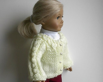 """RESERVED FOR DONNA - 18"""" Doll Sweater in Cream with Cabled Yoke and Trim Handmade to Fit the American Girl and other 18"""" DollS"""
