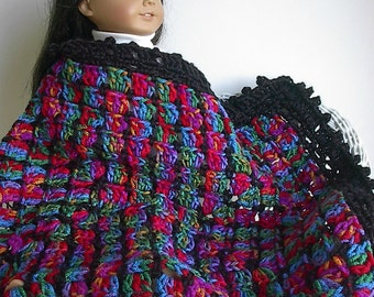"Crocheted Doll Afghan Blanket in Jeweltones with Black Trim - 16"" x 20"" Ruby Red Gold Emerald Turquoise Magenta handmade by Lavenderlore"