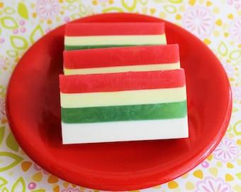 SALE--Raspberry Mango Mint Soap Bar- Raspberries, Mango, Mint, Peppermint, Layered Soap, Colorful, Fruit, ONLY 4 LEFT