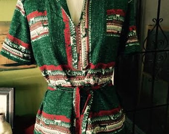 Vintage 1970's Womens awesome boho/hippie deer print shirt. size M