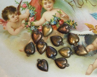 Vintage 12 Tiny Metal Heart Charms Supply