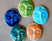 5 Handmade Ceramic Beads - Face Beads - Meditation Goddess