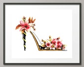 Fine Art Print Cherry Blossoms Flower Shoes Stiletto Pumps Footwear Fashion Colorful Watercolor Abstract Modern Contemporary Elena