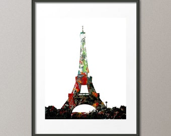 3 Designs Giclee Print Eiffel Tower Paris France Cityscape Landscape Map Geographic Map Contemporary Abstract Elena