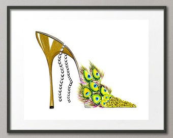 Fine Art Print Peacock Flower Shoes Stiletto Fashion Colorful Watercolor Abstract Modern Elena