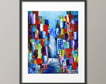 Gallery Canvas and Fine Art Prints Cityscape Urban Skyline Buildings Architecture Contemporary Abstract Elena