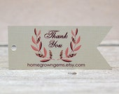 Customized Thank You Tags Gift Tags Flag Pennant Pink Laurel Wreath