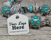 "240 Custom Tags - 1"" Personalized with Logo Text - Jewelry Tags - Price Tags - Hang Tags"