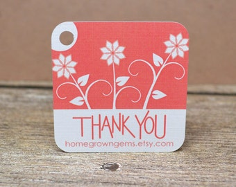 Customized Thank You Tags - Packaging - Gift Tags - Hang Tags - Personalized Cards - Floral Flowers Pink