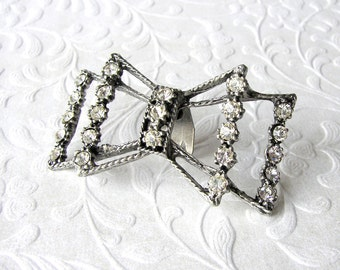 Double Rhinestone MUSI Bow Orphaned Shoe Clip Victorian Collar Hat Lapel Dress Gown Bouquet Pin 1950s Vintage Costume Jewelry Antiqued Metal