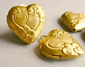 Adorable Vintage Raw Brass Heart Lockets (7-10F-4)