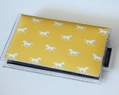 SALE Quick Snap Card Holder - Daydream / card case, vinyl wallet, dear sukie, snap, women's wallet, small wallet, ponies, horses, yellow