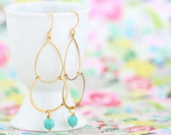 Gold Dangle Earrings, Sea Foam Earrings, Bohemian Gypsy Earrings, Dangle Earrings, Feminine Earrings, Cascading Earrings, Gift For Woman