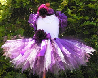 Flower Girl Tutu Outfit for Weddings, Complete with Purple Plum Lavender Tulle Tutu Skirt, Ruffle Shrug, Headband, Leotard, Pearl Necklace
