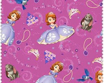 Sophia the First Princess in Training Fabric on Purple, 1/2 Yard