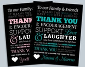 Printable To Our Family and Friends 8x10 Wedding Thank You Sign - Personalized with Bride and Groom's Names - Custom Colors Available
