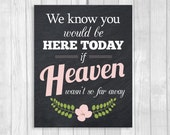 We Know You Would Be Here Today If Heaven Wasn't So Far Away 8x10 Printable Chalkboard Black and White Wedding Sign with Pink Flower