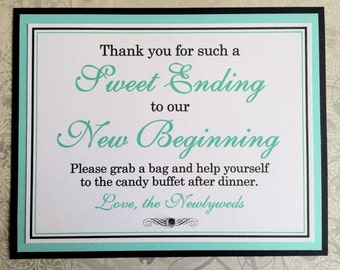 CLEARANCE 8x10 Flat Sweet Ending to Our New Beginning Wedding Candy Buffet Sign in Black and White and Aqua or Pool Blue