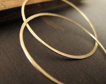 14k Solid Gold Artisan Hoop Earrings endless 1.5 inch round hammered hoops matte finish