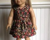 Flower Bouquet in Brown V-Neck Tunic Dress or Top Outfit for American Girl or 18 inch doll...