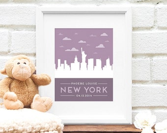 New york baby etsy new york city new baby gift personalized nursery art new york city skyline negle Images