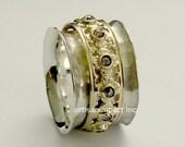 White gold ring, yellow gold ring, wedding band, spinner ring, champagne diamonds ring, gemstones ring, meditation ring - New beginning