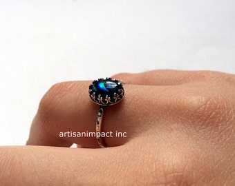 Silver ring, blue shell ring, silver engagement ring, dainty ring, princess crown ring, delicate ring, unique ring for her - Hold me R2120