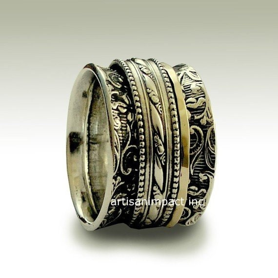 RESERVED to Christopher - 3rd payment of 3 + Ems shipping- filigree ring, botanical ring, meditation band - In my heart.
