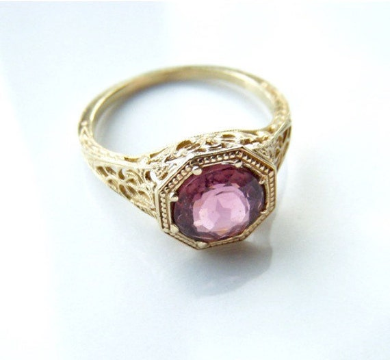 Miette - 14k Gold Vintage Reproduction Victorian Filigree Ring with Pink Tourmaline - Limited Edition Ring Collection